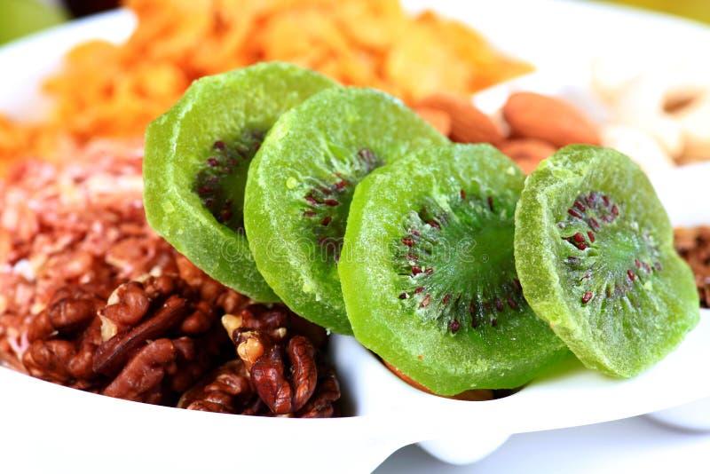 Dry kiwi. Beautiful shot of dry kiwi slices royalty free stock photos