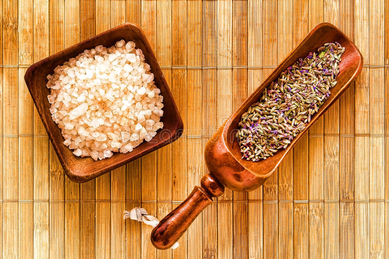 Dry Lavender Flower Seeds and Bath Salts in a Spa royalty free stock images