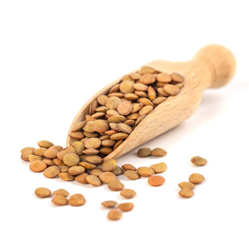 Dry lentils on wooden spoon isolated on a white background.  royalty free stock image