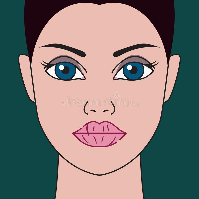Dry lips. Woman with chapped lips. Vector illustration stock illustration