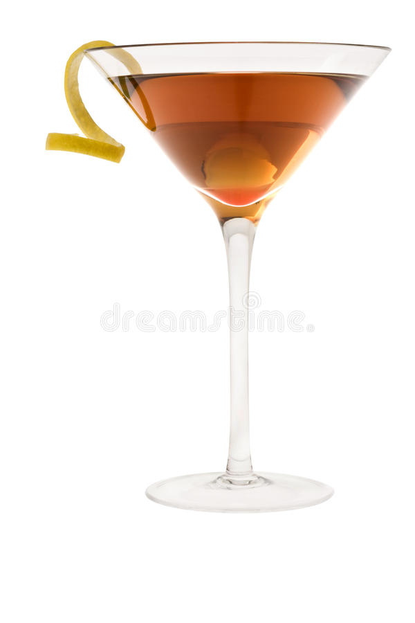 Dry manhattan cocktail or Rob Roy on a white backg. Dry Manhattan Cocktail with lemon peel on white background stock images