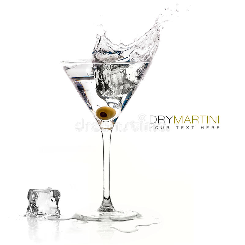 Dry Martini Cocktail with Big Splash. Template Design. Dry martini cocktail with big splash isolated on white background. Design template with sample text stock image