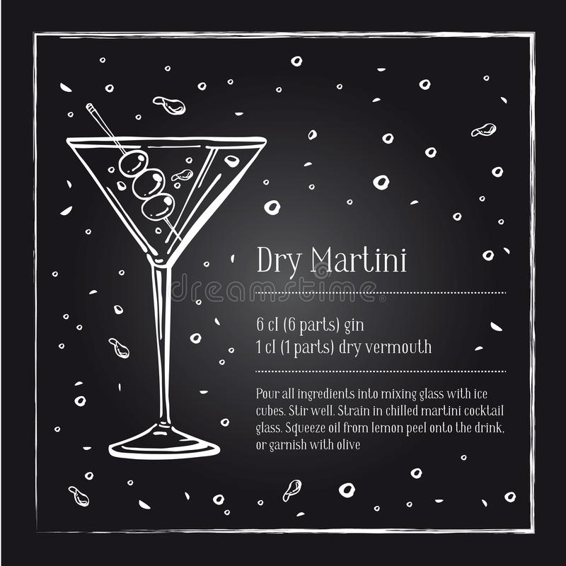 Dry Martini cocktail recipe description with ingredients. Vector sketch outline hand drawn illustration. On blackboard background royalty free illustration