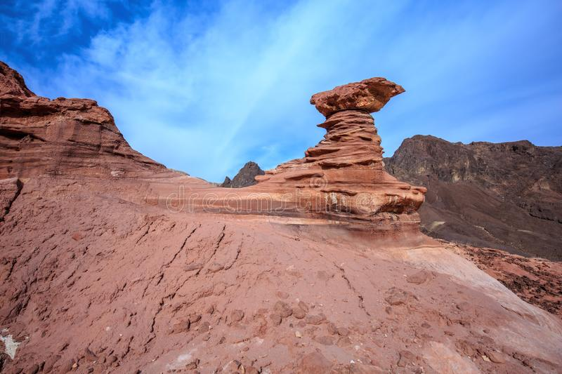 Dry mountains of Eilat. On a warm day in January. Outcrops of red sandstone unusual forms royalty free stock image