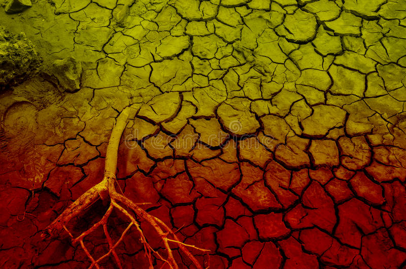 Dry mud for texture or background. Close up of pattern of orange and yellow Dry mud for climate's change illustration royalty free stock photo