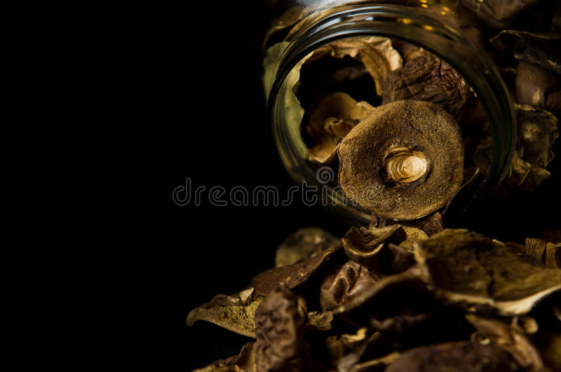 Download Dry mushrooms in jar stock image. Image of close, knocked - 29329609