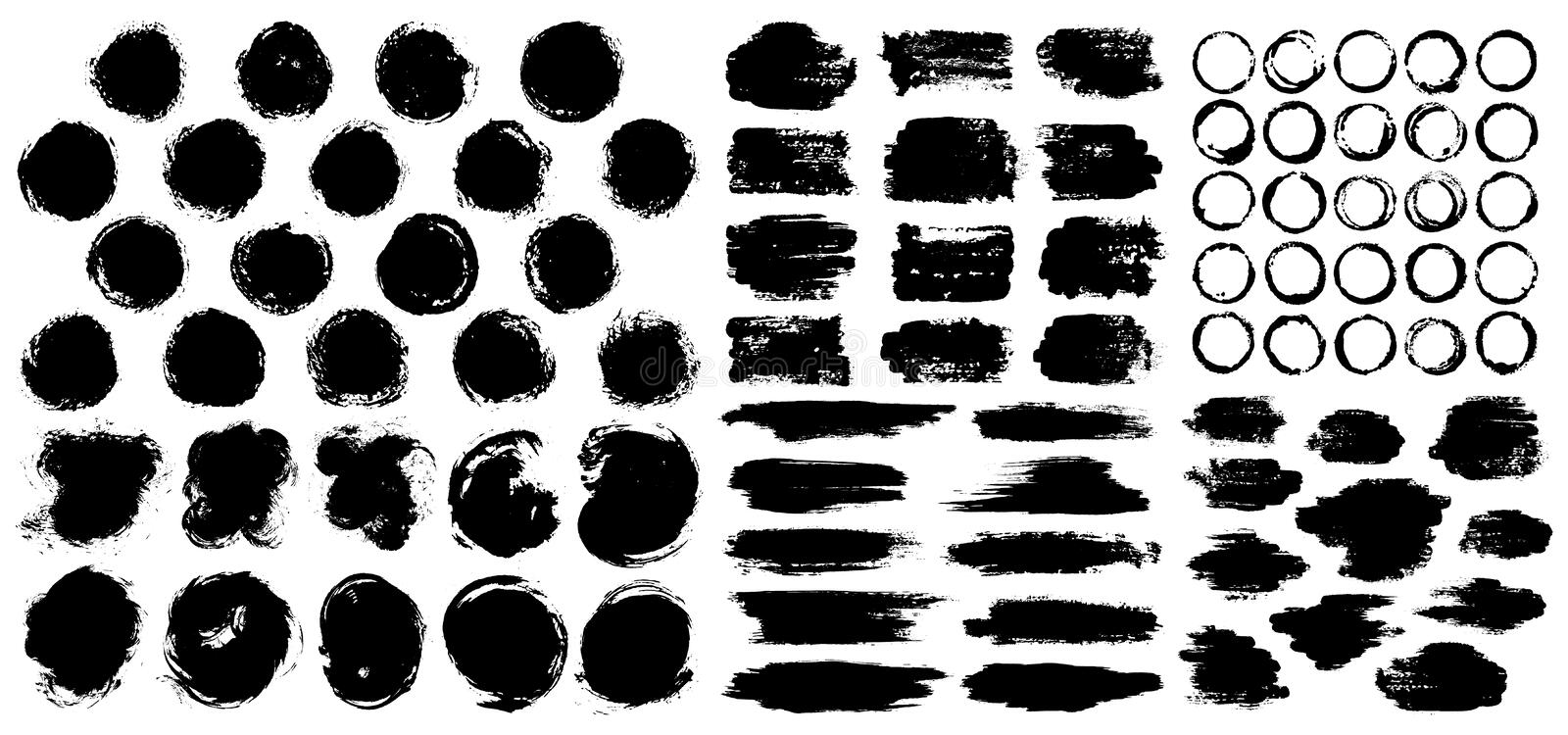 Dry paint stains brush stroke backgrounds set. stock photos