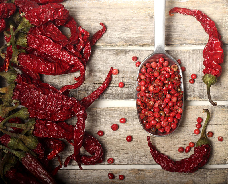 Download Dry Pepper And Grains On Wooden Background Stock Photo - Image: 30150268