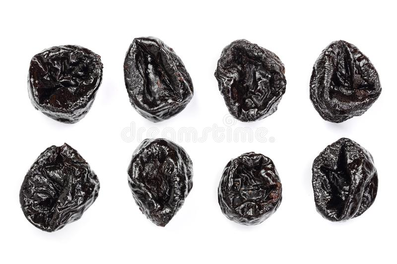 Dry plums prunes set isolated on white background as package design element stock photos
