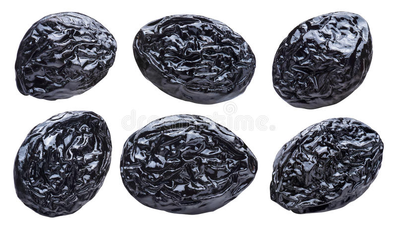 Dry plums prunes set isolated on white background stock photography