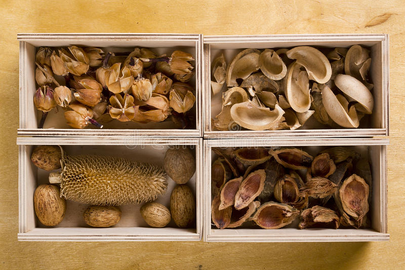 Dry potpourri in boxes. On a wooden background royalty free stock photo