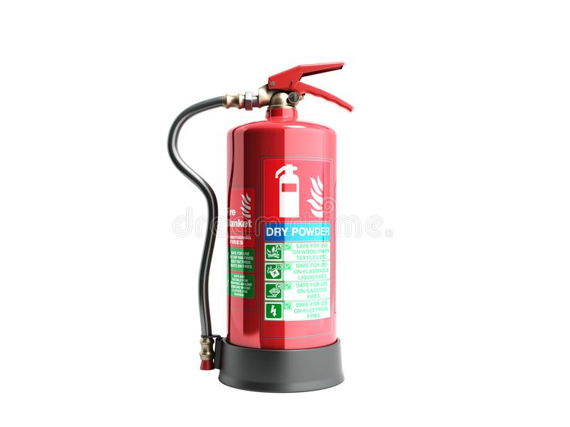 Dry power Fire extinguisher 3d render on white background no sha stock illustration