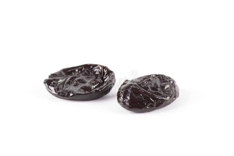 Dry prunes set isolated on white royalty free stock photo