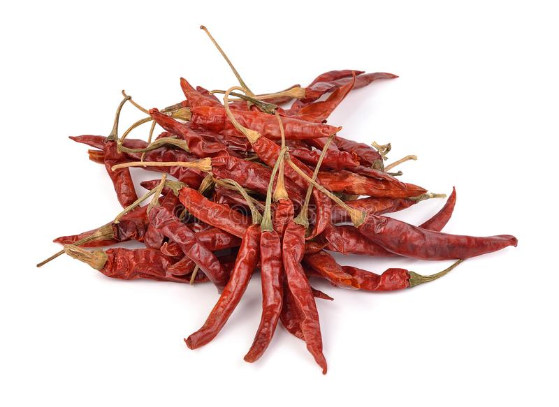 Dry red chilli on white background stock photos