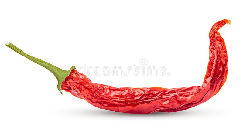 dry red hot chilli pepper on white background, isolated, clipping path, full depth of field royalty free stock photos