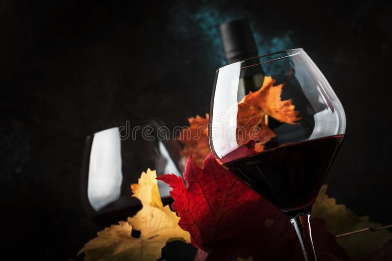 Dry Red Wine in big wine glass, autumn still life with leaves, wine tasting concept, rustic style, selective focus stock photo