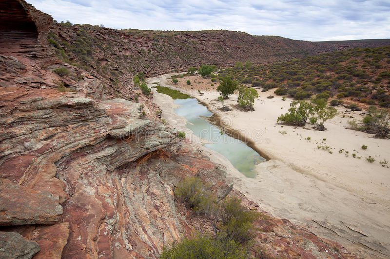 Almost dry river bed in Kalbarri National Park. Stunning top view over an almost dry river bed, in Western Australia stock images
