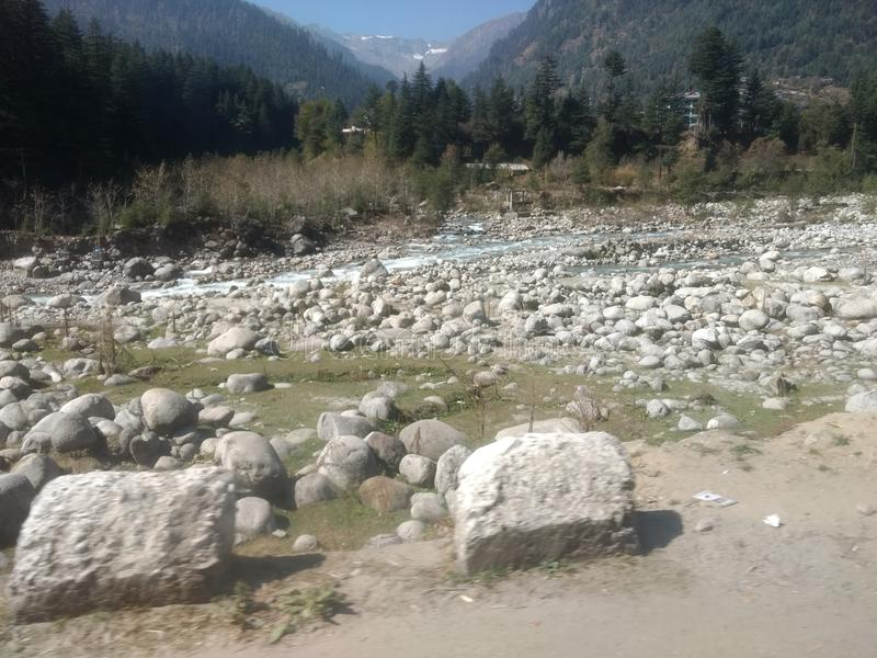 Dry river with rocks stock photography