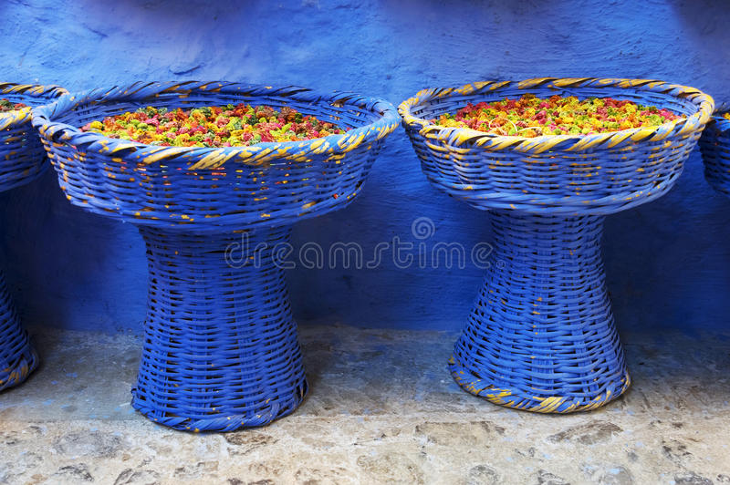 Dry rose buds. On the market in Chefchaouen, Morocco, Africa royalty free stock photo