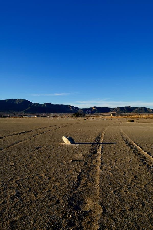 Dry salt lake - desert landscape. Dry salt lake - global warming, climate change, desert landscape with trace of tires detail - Laguna de Salinas (Spain royalty free stock images