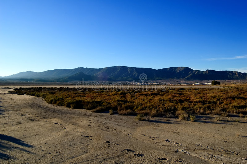 Dry salt lake - Rural landscape. Footprints - global warming, climate change - Laguna de Salinas (Spain stock images