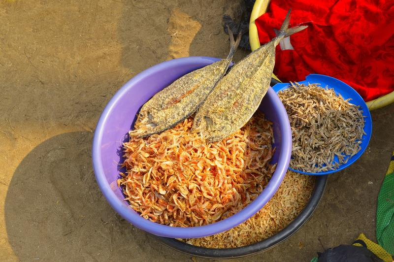 Dry shrimp and fish for sale at Nagaon beach, Maharashtra. India stock photo