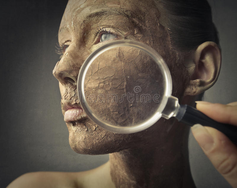 Dry skin. Woman with dry skin problem stock image