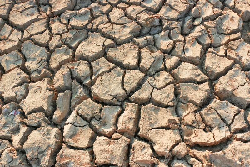 Dry soil due to water reduces natural disasters Global Warming royalty free stock photography