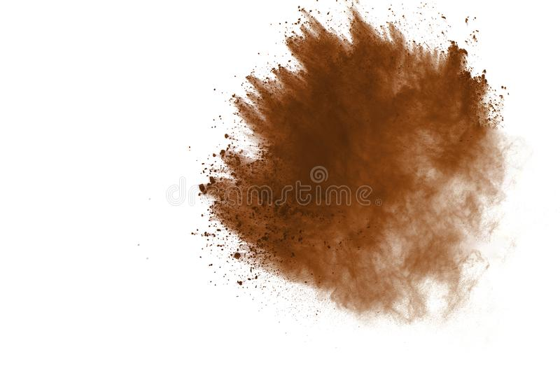 Explosion of colored powder, isolated on white background. Abstract of colored dust splatted. Color cloud. stock photography