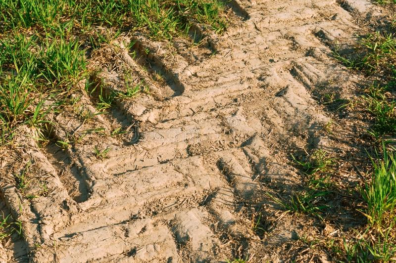 Dry soil in the field, the trace of the tractor. The trace of the tractor, dry soil in the field stock image
