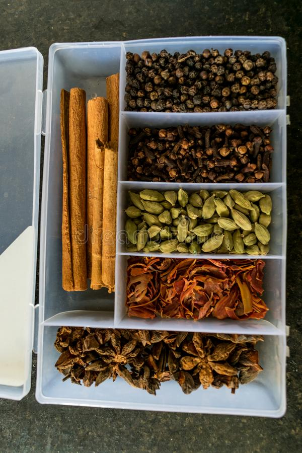 Indian dry Spice separate box in kitchen for cooking lot of flavor in vegetable. stock photo