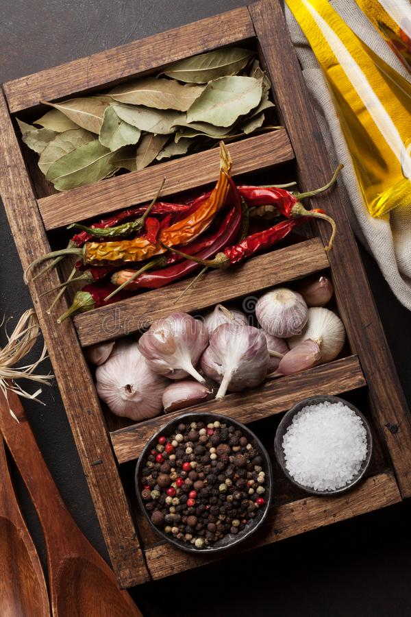 Dry spices in wooden box royalty free stock images