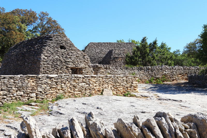 Dry stone huts in Bories Village, Gordes, France stock photo