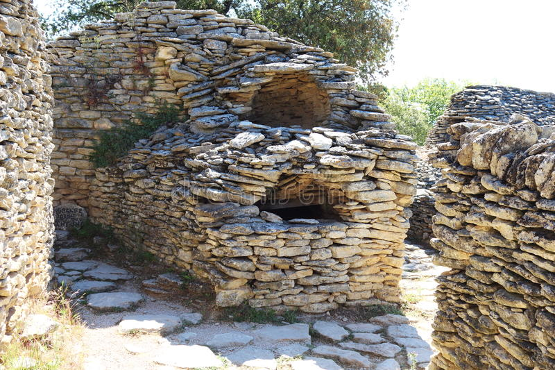 Dry stone huts, French Bories Village, Gordes royalty free stock image