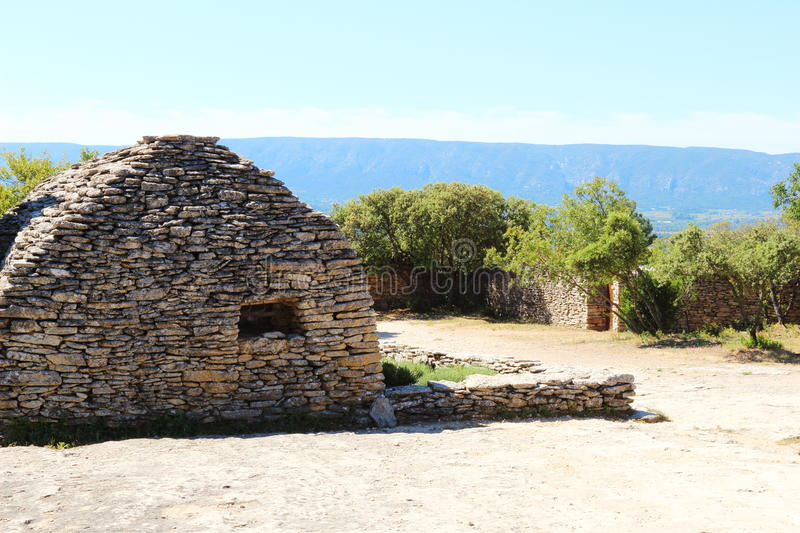 Dry stone sheds in French Bories Village, Gordes royalty free stock photo