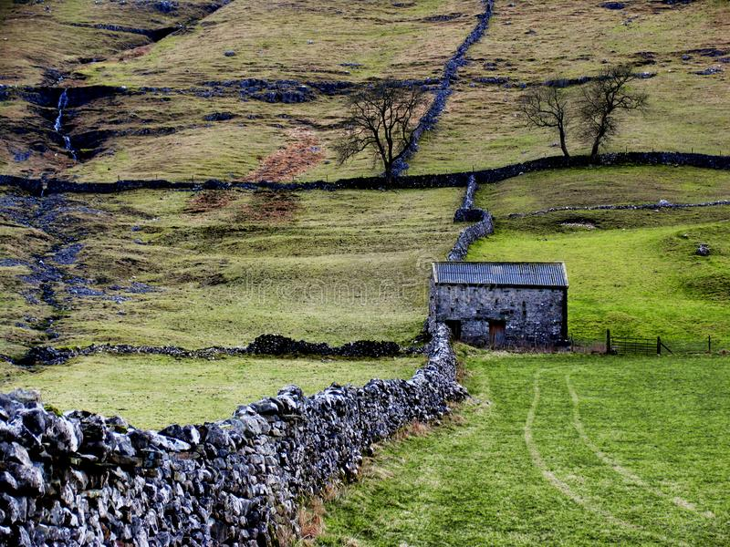 Download Dry stone wall and barn stock image. Image of wharfe, wharfedale - 3163951