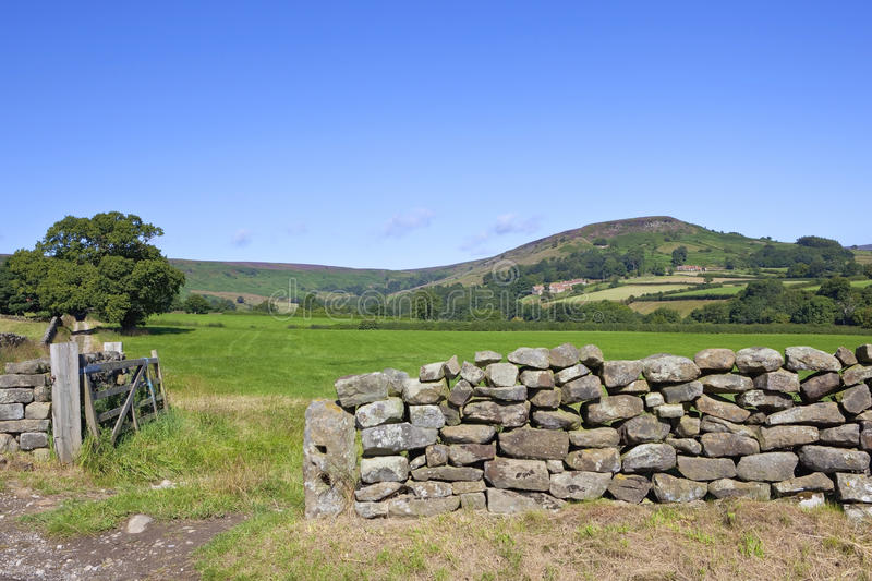 Dry stone wall in moorland countryside stock photography