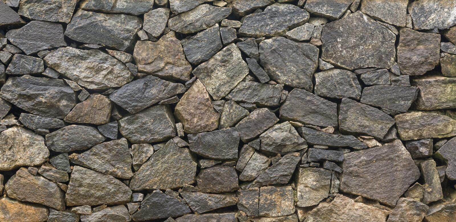 Dry Stone Walling Section View. Section View of Dry Stone Wall. Also called Dry stack Wall. Background Texture royalty free stock photo