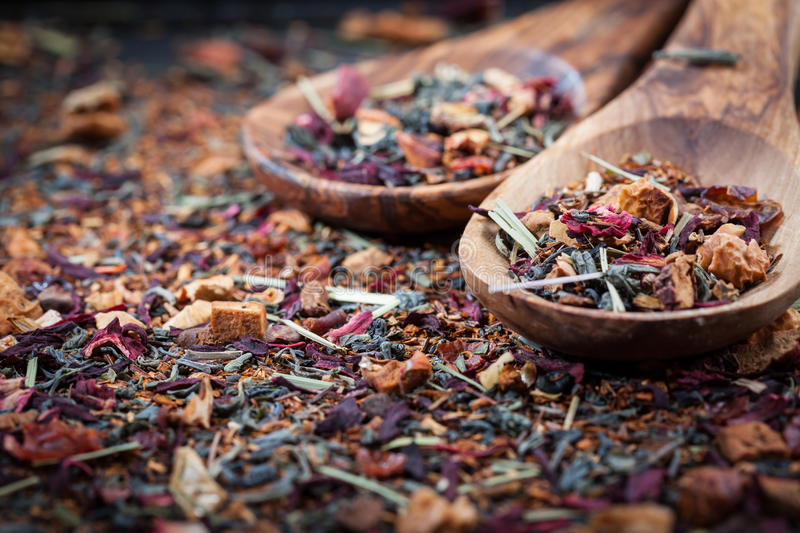Dry tea. On wooden table royalty free stock photo