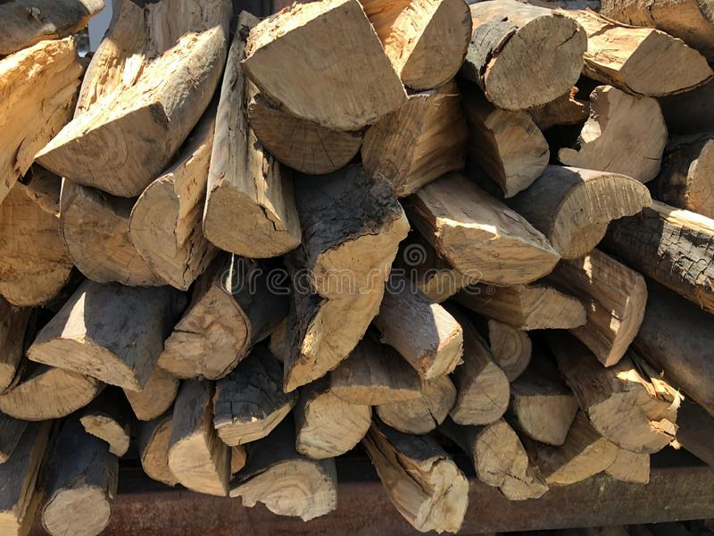 Dry wood stacked in piles. stock image
