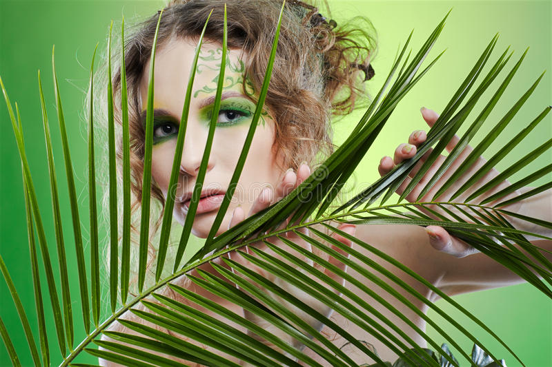 Download Dryad girl with fern stock photo. Image of european, leaf - 13476486