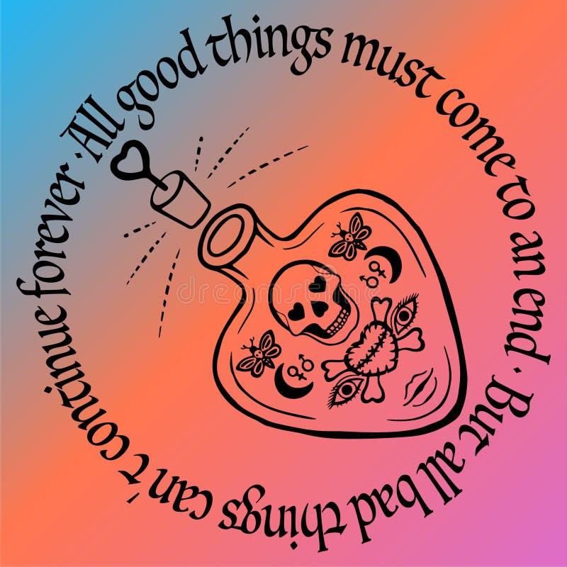 Dryck för översiktstatueringförälskelse eller giftflaskvektorn med esoteriska symboler för skallen och för hjärta, hand dragit hä royaltyfri illustrationer