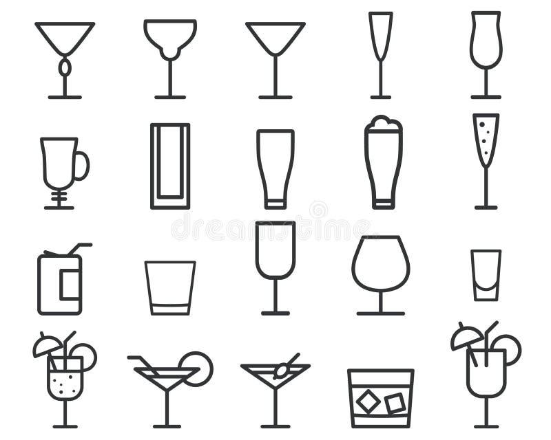Dryck tunn linje symbolsymbol för drinkvektor stock illustrationer