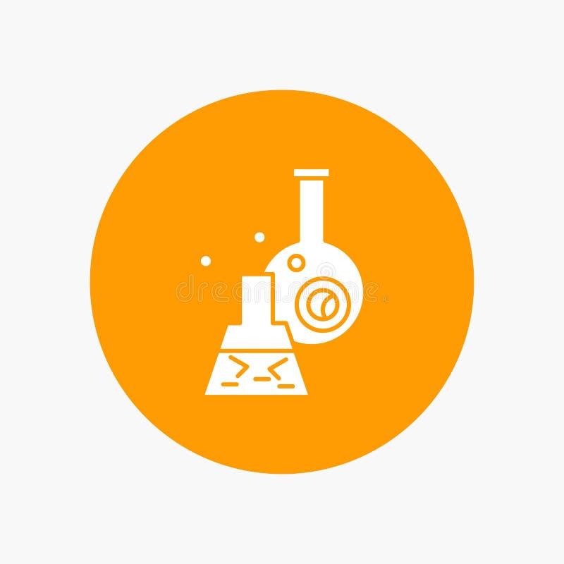 dryckeskärl labb, prov, rör, vetenskaplig vit skårasymbol i cirkel Vektorknappillustration vektor illustrationer
