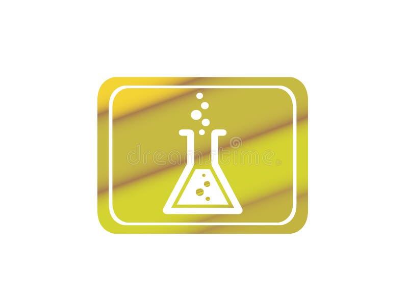 Dryckesk?rllabbflaskan med den kemiska vikten inom g?r bubblor f?r logodesign vektor illustrationer