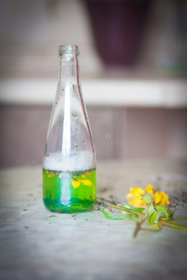 Dryckhäxa på tabellen med arkivfoto