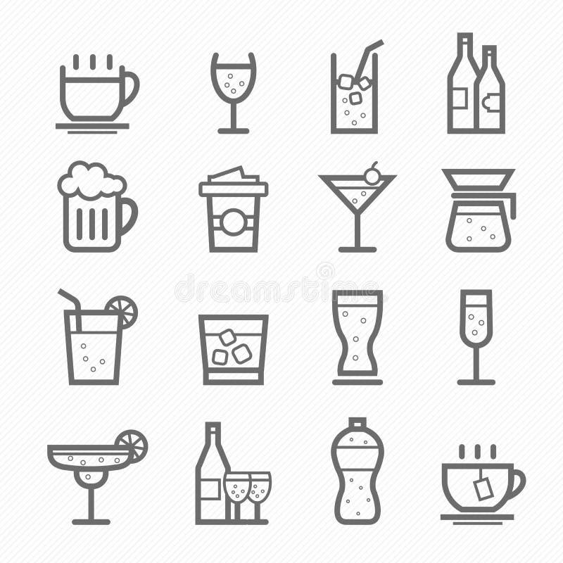 Drycksymbollinje symbolsuppsättning royaltyfri illustrationer