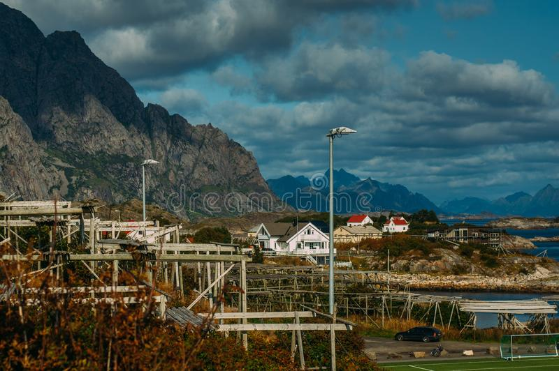 Dryer for fish in Henningsvaer, Lofoten Islands, Norway royalty free stock photos