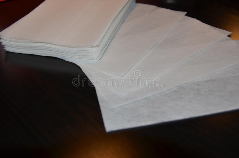 Dryer sheets fanned out stock photography