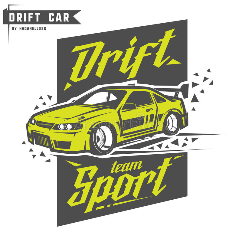 Dryftowy sport drużyny druk dla koszulki, emblematów i loga, ilustracji
